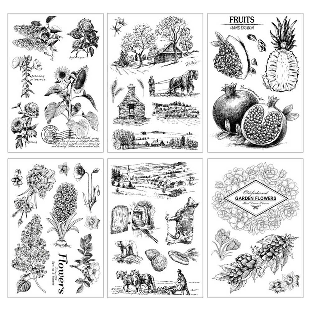 New Plants Fruit Transparent Clear Rubber Stamp Silicone Scrapbooking Photo Album Decor Stamp Paper Card Handmade Gift DIY Craft