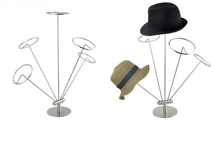 High grade stainless Steel Hat Stand Display Rack Metal Cap Display Stand Holder Hat Rack Hat