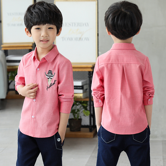 efe69ace6 2018 New Fashion Style Boy s Shirts Casual Cotton Kids Clothes Pink ...