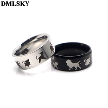 DMLSKY The Lion King Cartoon Rings Jewelry Black Silver Cute Ring for Women and Mens Stainless Steel Ring Couple Rings M3594 portonary the king of lion fashion ring made of stainless steel in gray color for both man and women beauty and jewelry