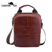 VANTER OX Shoulder Handbags Mens Genuine Leather Bags Gentlemen Business Casual Cow Messenger Zipper Solid
