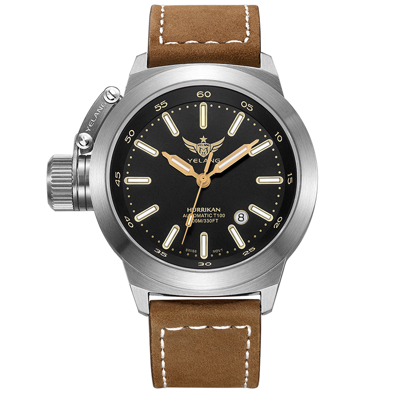 YELANG V1022 T100 Tritium Luminous Army Military Mens Automatic Mechanical Wrist Watch With ETA 2824-2 Automatic Movement - Khak yelang v1015 upgrade version khaki number tritium gas yellow luminous men automatic mechanical business watch steel watchband