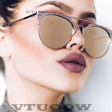 Luxury Brand Cat Eye women's Sunglasses Hue Fashion Retro Vintage Round Sunglass Sun Glasses For Women Female Lady Sunglass 2019 luxury brand design grade round sunglasses women mirror sunglass female vintage points sun glasses for women lady sunglass 2016