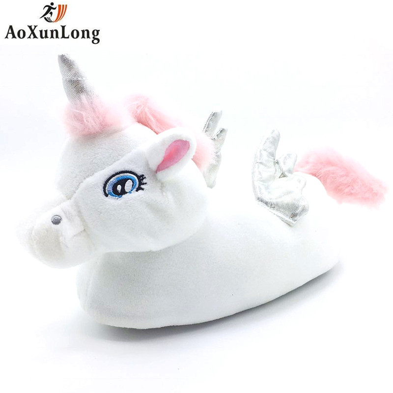 77c4c3d8ca70 Winter Slippers Women New Unicorn Slippers Cute Girl Indoor Warm Unicorn  Shoes Women Pokemon Plush Big