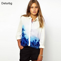 New Fashion Women Elegant Long Sleeve Shirts Tops Blue Floral Gradient Print Chiffon Casual White Blouse blusas S-XL 2017 Spring