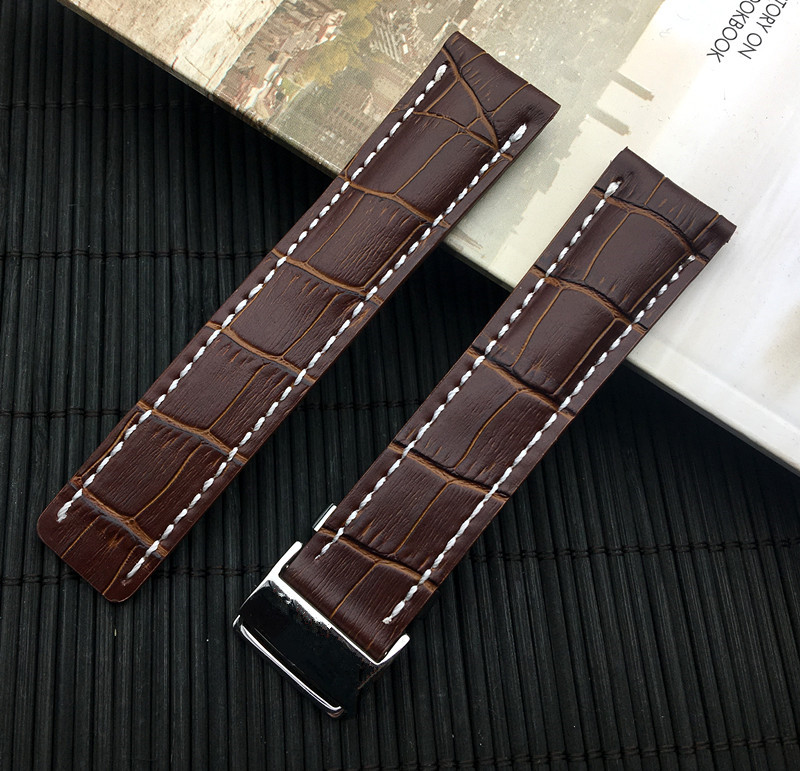 Image 5 - Luxury Genuine Leather Watch Band Watchband For Breitling strap for NAVITIMER WORLD Avenger/navitimer belt 22mm 24mm logo on-in Watchbands from Watches