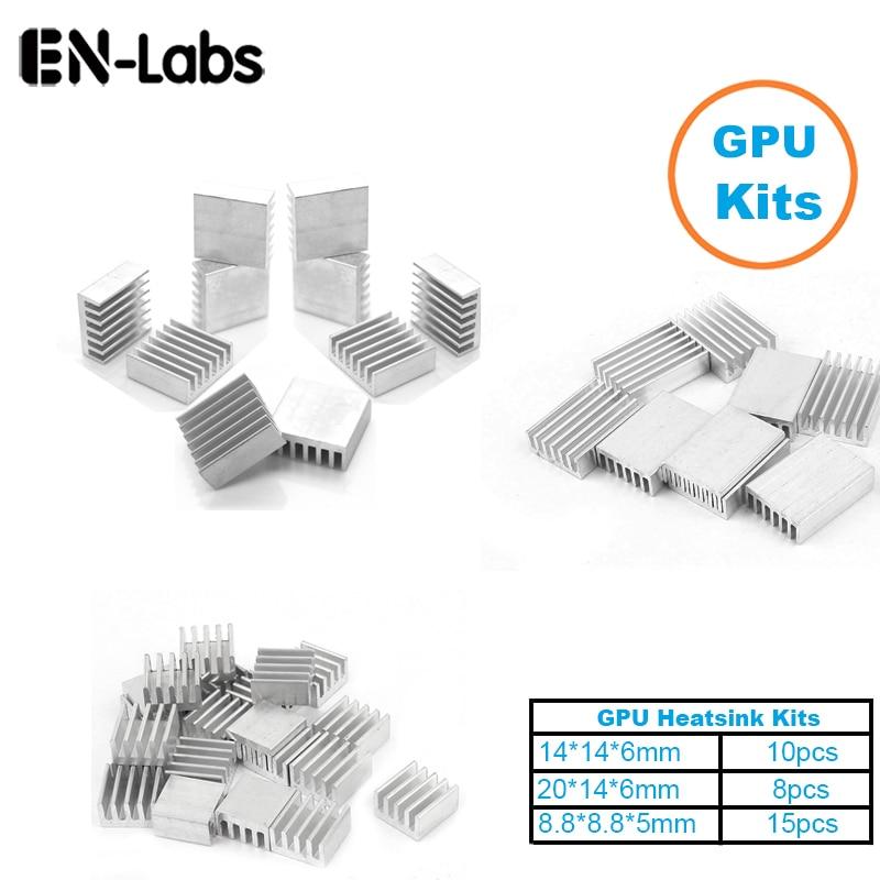En-Labs 1Set/33pcs Aluminum Heat Sink Radiator Heatsink  Cooler Kit For GPU Graphics Card ,VGA Video Card Heat Dissipation