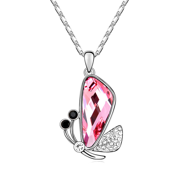 Valentines Day Gift Butterfly Pendant Necklace Crystals from Swarovski Necklace Wings Charm Present For Girlfriend