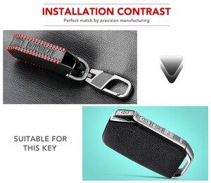Image 2 - Funda de llave inteligente con control remoto de 3/4 botones para Kia Sportage Ceed Sorento Cerato Forte 2017 2018, funda de piel con Fob de cuero