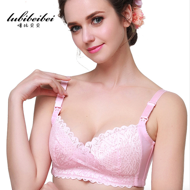 The new 2017 pure cotton and comfortable nursing bra cross lace Super breathable prevent sagging breast-feeding women underwear