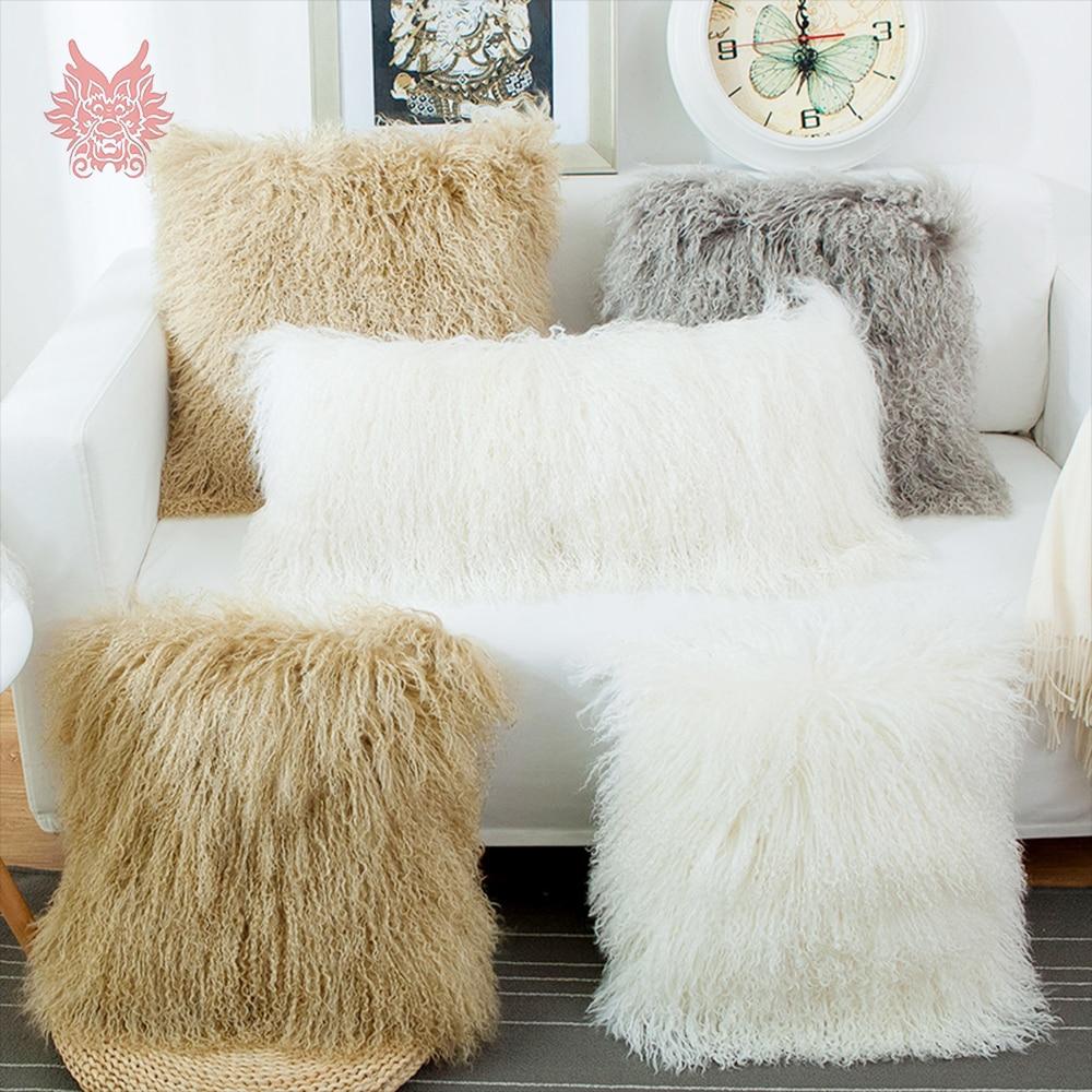 Réel tibet mouton fourrure housse de coussin bâches de voiture taie d'oreiller coussin couvre canapé décor housse de coussin capa de almofada SP5459-in Housse de coussin from Maison & Animalerie    1