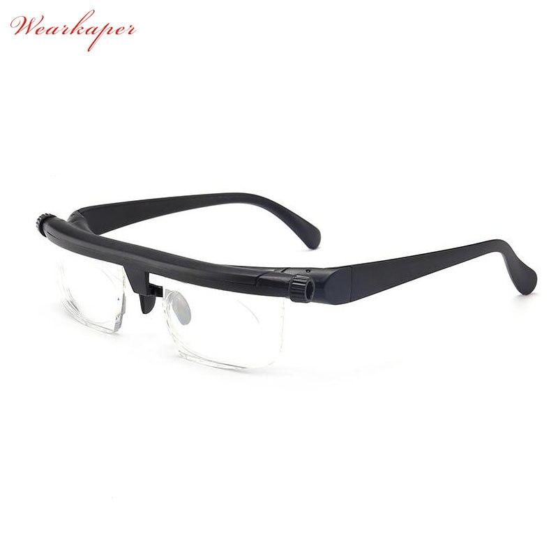 Visão Foco Ajustável Óculos De Leitura Óculos de Miopia Olho-6D a + 3D Variável de Correção de Lente Lupa Binocular Porta Oculos