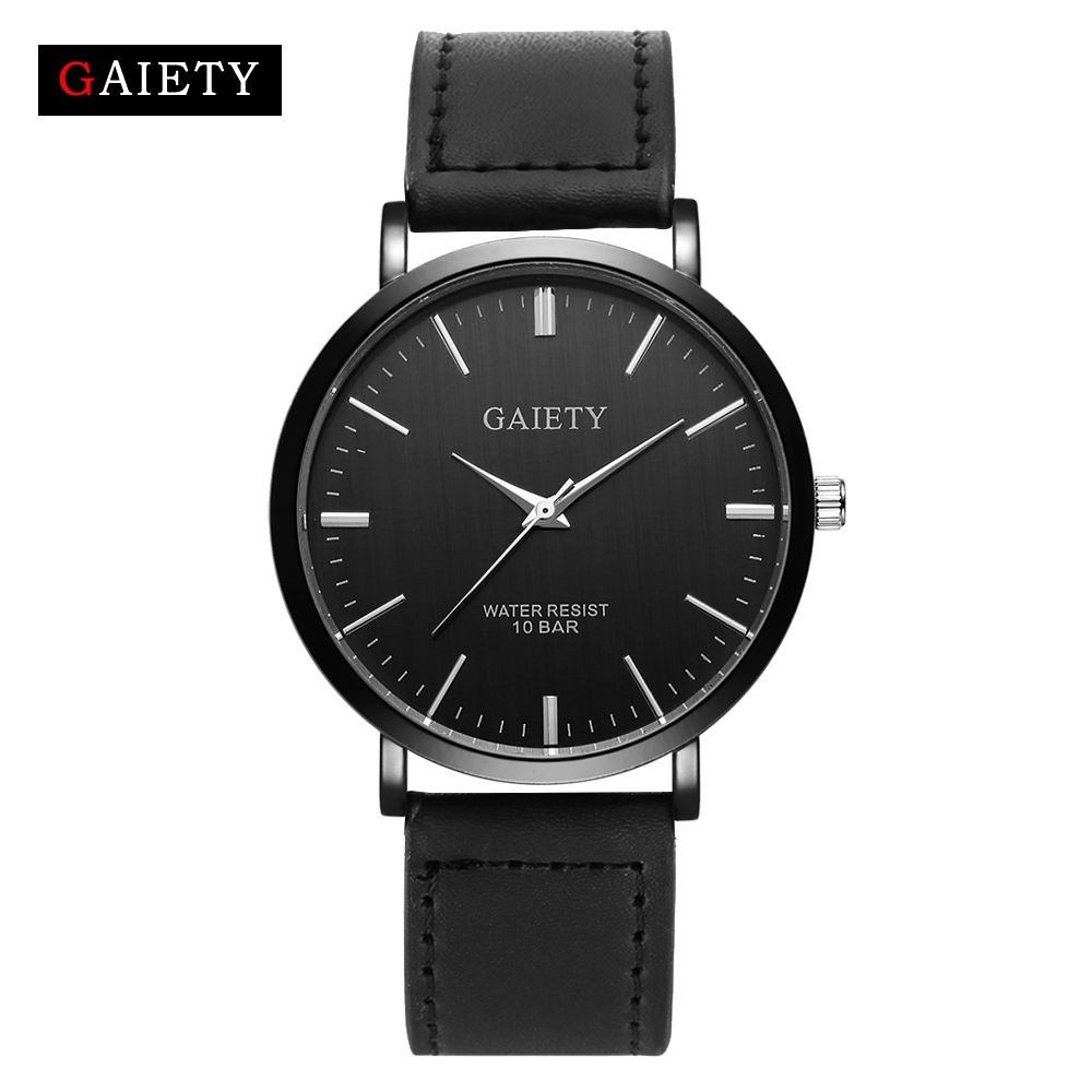 Gaiety Top Brand Luxury Genuine Leather Strap Quartz Watch Men Fashion Casual Simple Dress Quartz Watches Man Business Watch 100% genuine disney fashion children watches for boys students captain america iron man leather watch strap luxury brand design