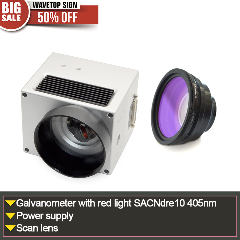 SACNdre10 405nm digital galvanometer with red light aperture 10mm marking speed 6000mm + CSDQ scan lens 70X70-300X300mm sacndre10 digital galvanometer wavelength 1064nm yag laser module use xy2 100 protocol