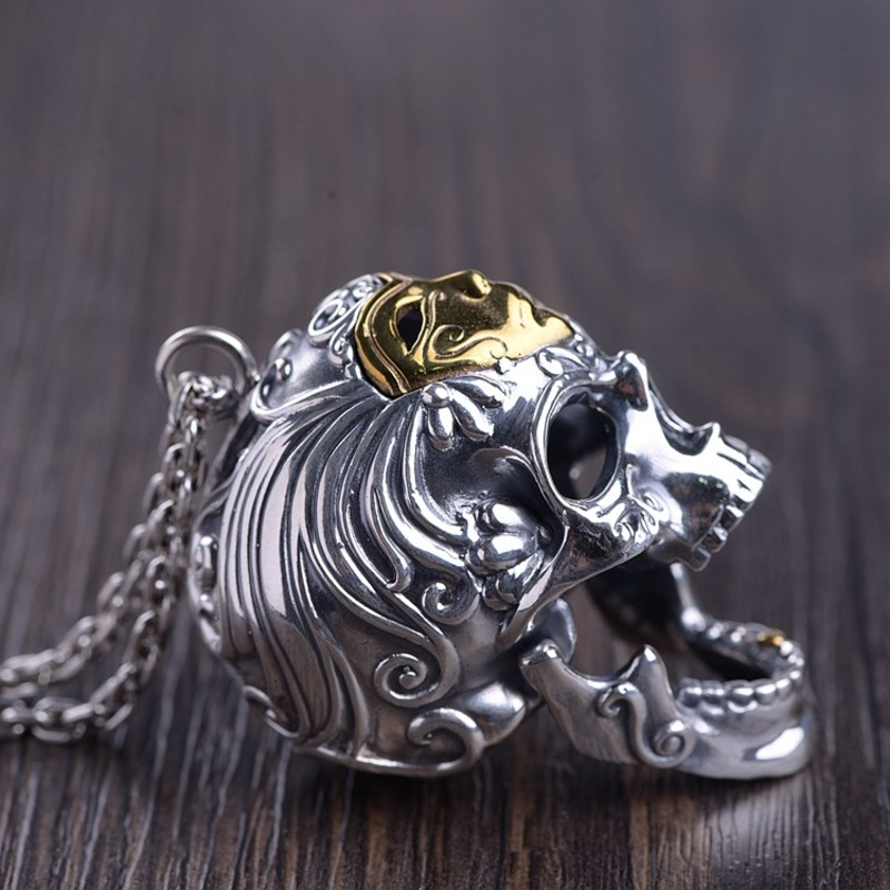 Серебро восстановление древних способов процесс мужская маска для лица Череп Кулон может открыть рот тайский серебряный оптовая продажа - 3