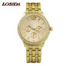 Купить с кэшбэком Losida Mens Watch Shock Fashion Casual Stainless Steel Quartz Wrist Watch Business Card Sports Watches relogio masculino Geneva