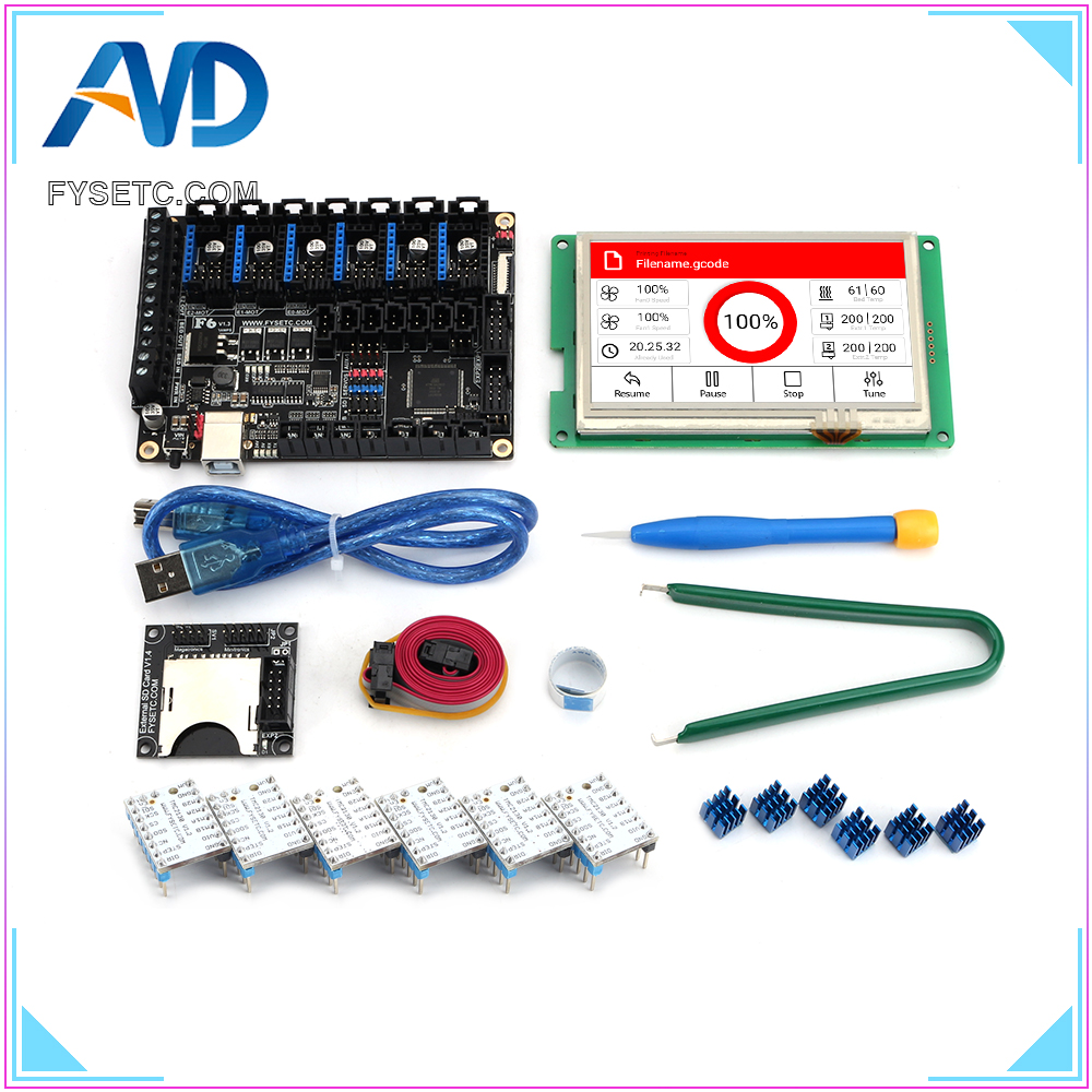 FYSETC F6 V1.3 ALL-in-one Mainboard + 4.3 inch Touch Screen With SD Reader + 6pcs TMC2130 Stepper Motor Driver SPI Flying WireFYSETC F6 V1.3 ALL-in-one Mainboard + 4.3 inch Touch Screen With SD Reader + 6pcs TMC2130 Stepper Motor Driver SPI Flying Wire