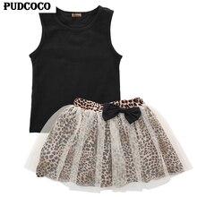 2017 Новый летний комплект для маленьких девочек, топ без рукавов, жилет + сетчатая юбка-пачка с леопардовым принтом, короткое мини-платье трап...