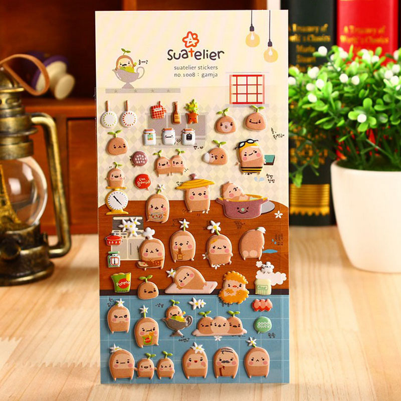Potatoes Life Perspective Sponge Bubble Stickers Diary Decorative Stickers Decor For Notebook Scrapbook Card Papers