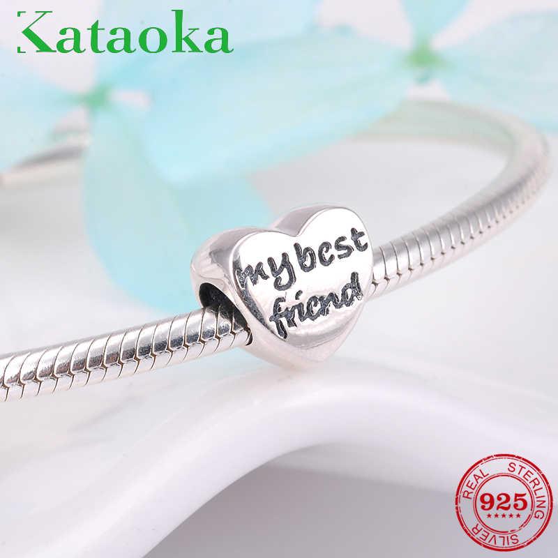 090647661 Fashion friendship Charms 925 Sterling Silver best friend beads Fit  Original Pandora Bracelet Jewelry making fashion
