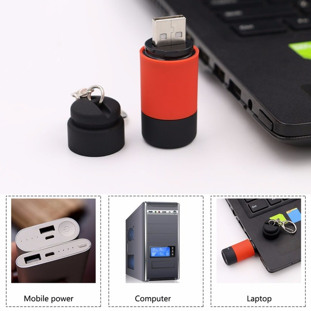 Mini Usb Rechargeable Led Flashlight Charging Torch 5 Colors Keychain Key Ring Lamp Lanternas