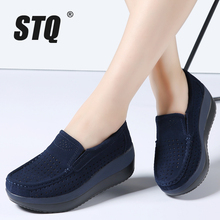 STQ 2017 mujeres del resorte mocasines de plataforma plana zapatos de las señoras de cuero de gamuza hollow casual shoes slip on pisos Mocasines enredaderas 828(China)