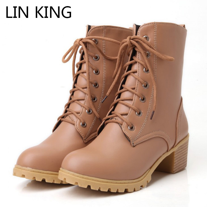 LIN KING New Punk Lace Up Women Motorcycle Boots Fashion Square Thick Heel Lady Martin Boots Retro Woman Short Shoes Plus Size