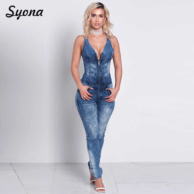c3794c2e7966 Casual Sexy ROMPER DENIM JUMPSUIT WOMEN Overalls Jeans Sleeveless Front  Zipper Long Trousers Skinny High Waisted