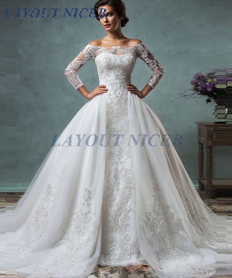Vintage Three Quarter Length Wedding Dresses: 2018 Vintage Wedding Dresses Sheer Three Quarter Sleeves