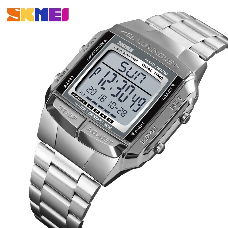 <font><b>SKMEI</b></font> <font><b>1381</b></font> Luxuly Mens Wristwatch Gold Golden Digital Watches Stainless Steel Top Brand Relogio Masculino Saatler Male Clock image