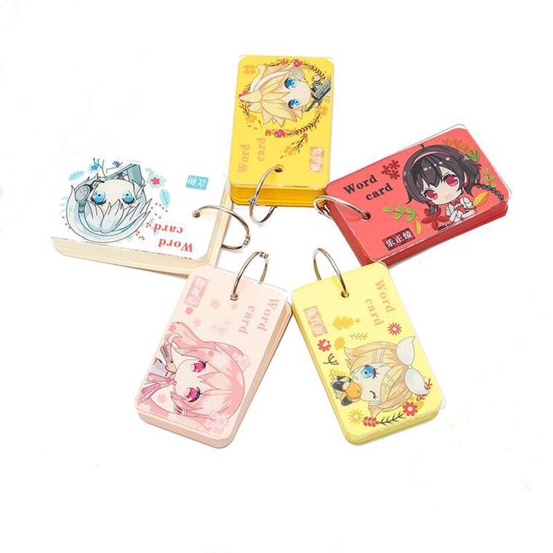 1 Pcs Cartoon Japanese Anime Hatsune Miku Portable Blank Notebook Writing Reciting Vocabulary Word Book Card Buckle Stationery