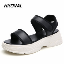 HKOVAL Women Sandals Fashion Flats Casual Comfortable Genuine Leather Female Shoes Summer Ladies Shoes Soild Sandals beyarne summer sandals female handmade genuine leather women casual comfortable woman shoes sandals women summer shoes