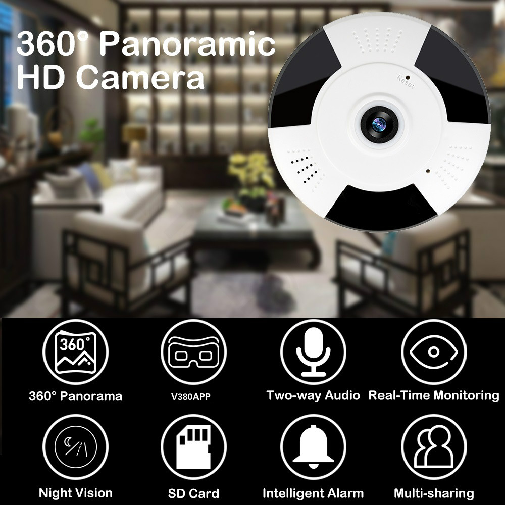 V380 WIFI Wireless Camera 360 Degree 960P HD IP Fisheye Panoramic Camera Home Security Indoor CCTV Video Camera SD Support 64G image