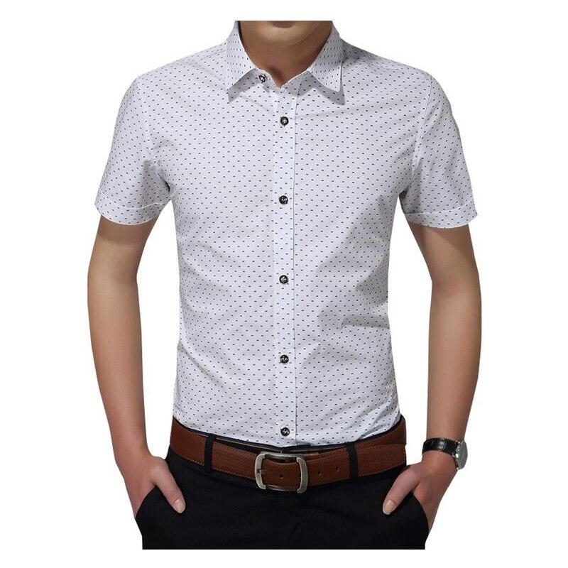 Мужская хлопковая рубашка с коротким рукавом, Повседневная рубашка в горошек, Азиатский Размер 5XL, новинка 2019