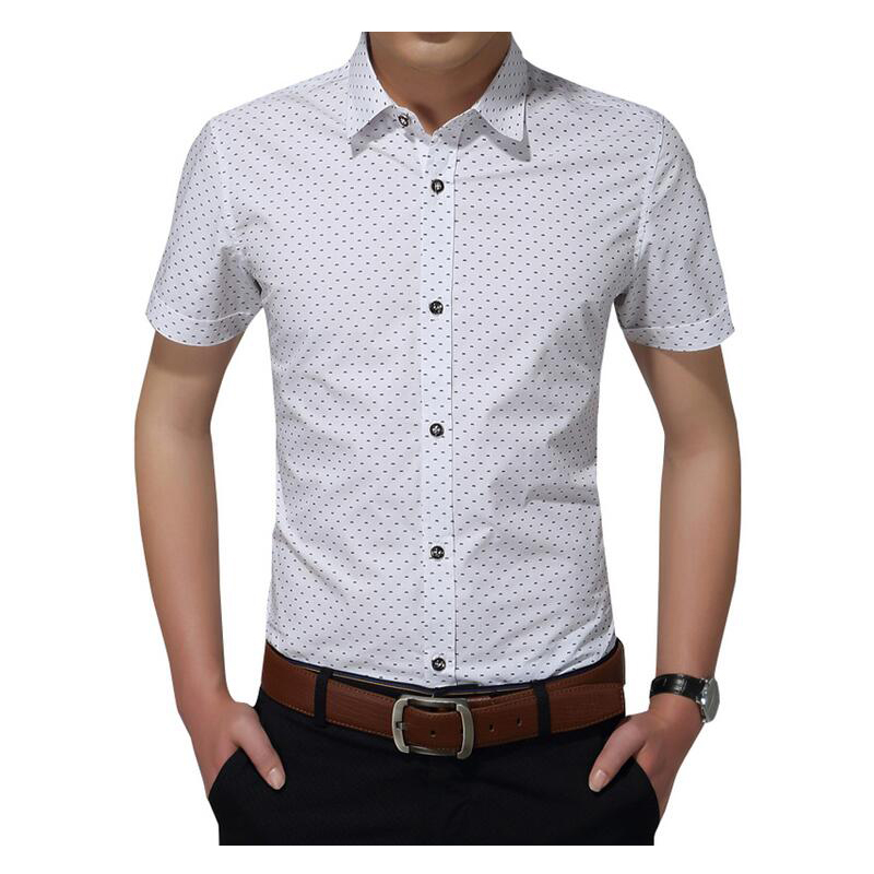 2019 New Arrival Men's Shirt Fashion Cotton Men Social Shirt Mens Short Sleeve Shirts Man Polka Dot Casual Asian Size 5XL