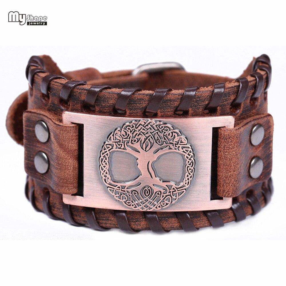 My Shape Tree of Life Vintage Wrap Leather Man Bracelets With Antique Bronze Metal Charm Vikings guard amulets Bracelet