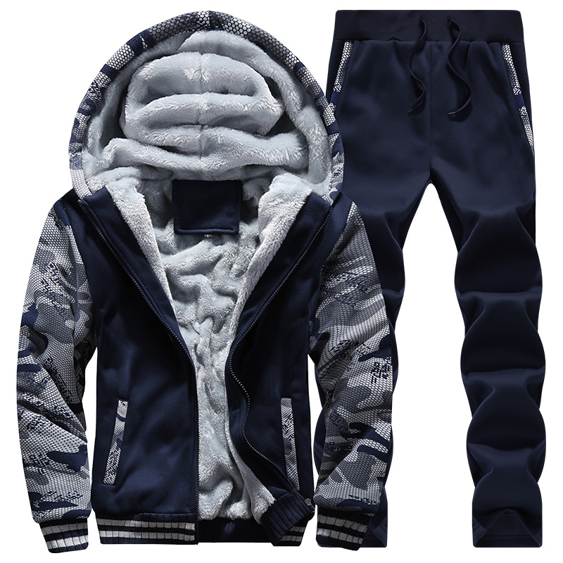 The new male fleece winter suit Add hair thickening hooded fleece jacket