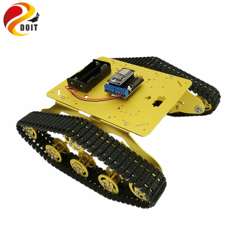 TS300 Shock Absorber rpbot Tank car Chassis with Nodemcu Development Board+Motor Driver Board based on ESP8266 DIY RC Toy doit v3 new nodemcu based on esp 12f esp 12f from esp8266 serial wifi wireless module development board diy rc toy lua rc toy