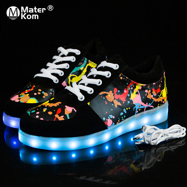 Size 30-43 Luminous Sneakers USB Charge Led Children Shoes Boy Girl Mens Womens Glowing Tennis Kids Light Up Shoes