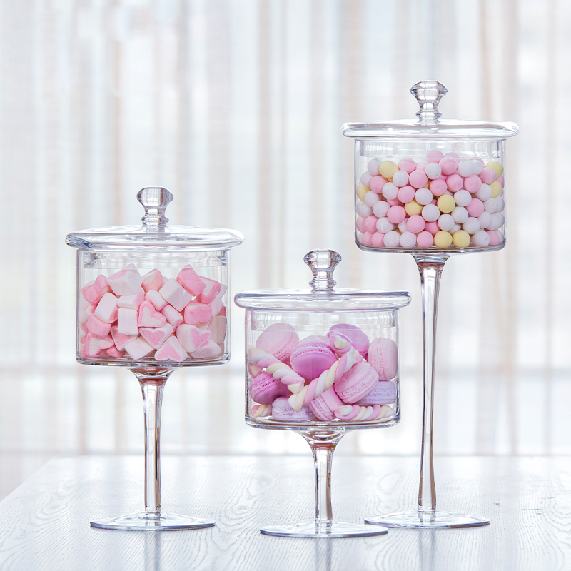 Favorite slim tall Transparent Glass candy jar with Wedding dessert  UQ91