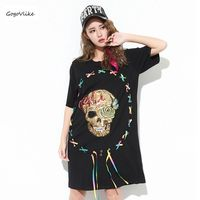 Women Black Colorful Lace Up Sequins Skull Dress 2017 Loose Punk Street Vestidos Casual Straight O