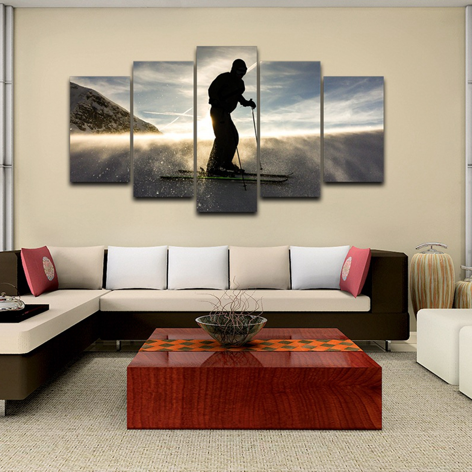 Modern Canvas Pictures HD Printed Wall Art Unframed 5 Pieces Outdoor Sports Skiers Snow Landscape Living Room Home Decor Paint