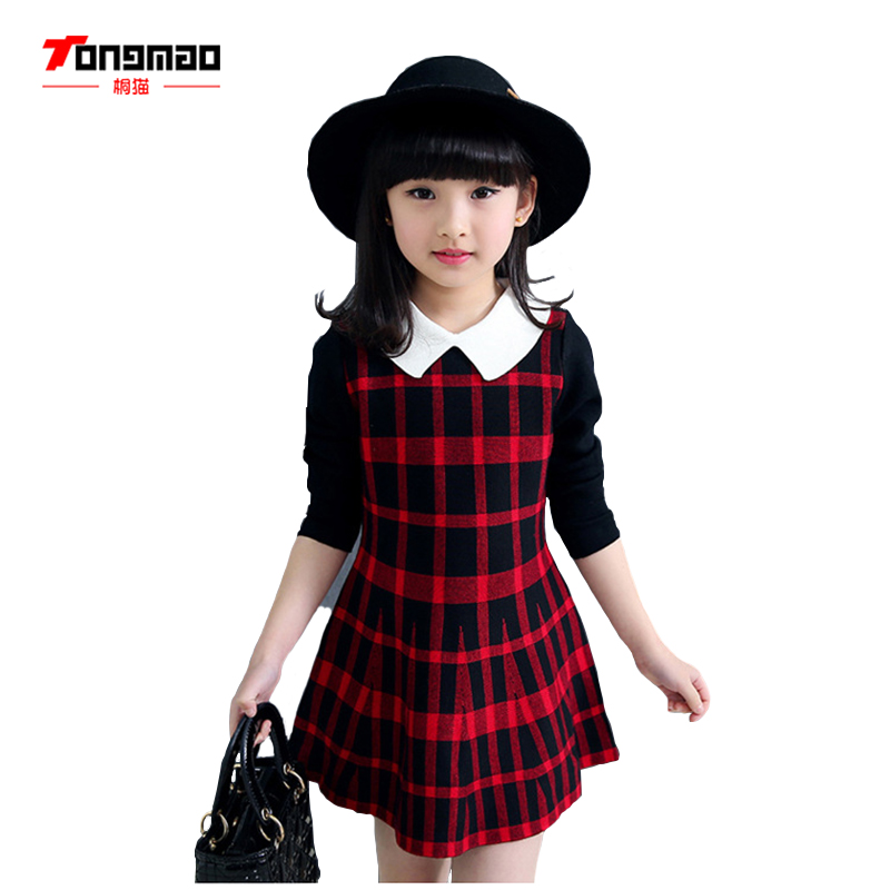 TONGMAO Childrens Clothing Girls New Spring and Autumn Fashion Casual Wild Turndown Collar Lattice Sweater Mini A Word DressTONGMAO Childrens Clothing Girls New Spring and Autumn Fashion Casual Wild Turndown Collar Lattice Sweater Mini A Word Dress