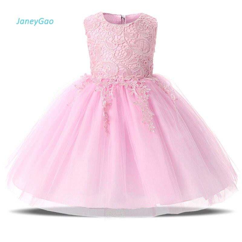 JaneyGao 2018 Summer   Flower     Girl     Dresses   For Wedding Party Pink Kids Formal Wear Pageant First Communion Gown vestido de daminha