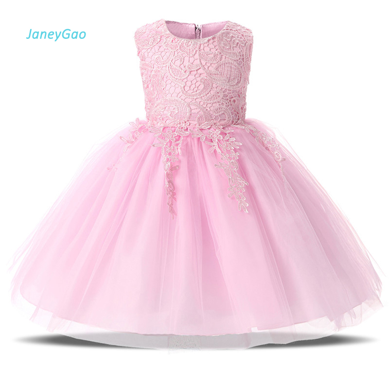 JaneyGao 2019 Summer   Flower     Girl     Dresses   For Wedding Party Pink Kids Formal Wear Pageant First Communion Gown vestido de daminha
