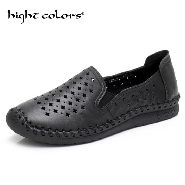 0f3ba0d9239 2018 New Summer Women s Shoes Genuine Leather Flats Shoes Female Casual Flat  Woman Loafers Leather Black