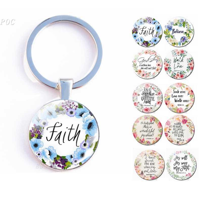 Библейский стих брелок цитата из Библии буквы стеклянный кабошон брелок для ключей металл кольцо с двойным лицом держатель для ключей христианские рождественские подарки