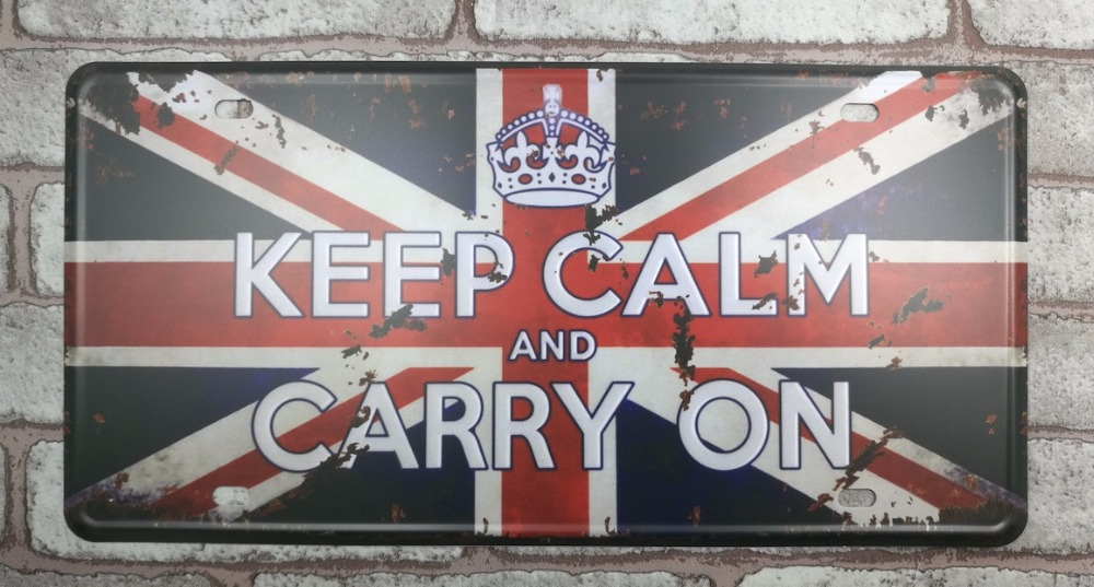 1 pc keep Calm And Carry on UK Britain plaques Tin Plate Sign plate wall man cave Decoration Metal Art dropshipping Poster metal