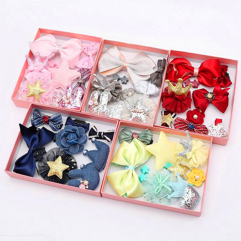 10pcs Children Accessories Headwear gift Set with box Ribbon Bow Rabbit Hair clip Hairpins Girls Princess Crown barrrette T21