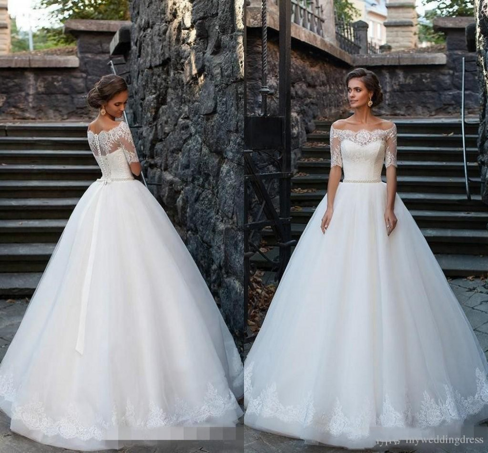 Buy 2016 vintage plus size ball gowns for Wedding dresses with half sleeves